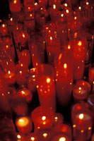 Candles Lit In Cathedral For Saints Day