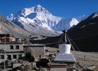 Ronbuk Monastery with Mt Everest behind