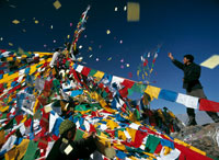 Pilgrim, prayer flags,Tibetan New Year