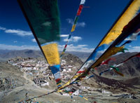 Looking down a line of prayer flags