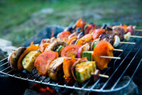Vegetable kebab skewers grilling