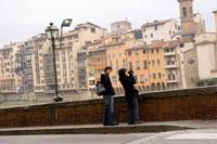 Tourists on Arno banks