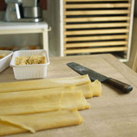 Fresh pasta to make tagliatelli