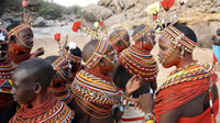 Samburu dancers at courtship ceremony