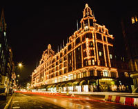 Harrods with Christmas lights at night
