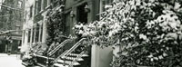 Snow covered steps of townhouse