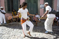 People dancing to Bahian music