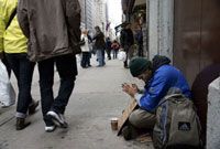 Homeless man prays for help