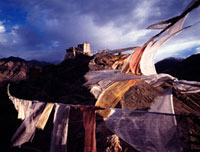 Leh Monastery with prayer flags in foreground 20023004079| 写真素材・ストックフォト・画像・イラスト素材|アマナイメージズ
