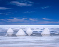 White piles of salt in stark landscape