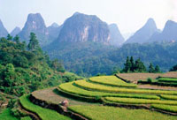 Karst scenery with mountains,Guangxi