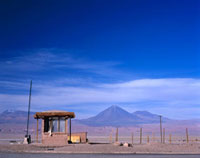 Hut in deserted landscape by Licancabur Volcano