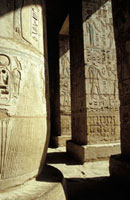 Carvings on pillars on Medinet Habu
