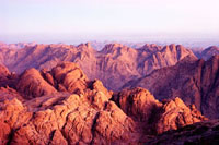 View from the summit of Mount Sinai at sunrise