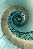 Looking up the spiral staircase of the lighthouse