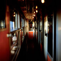 Interior of corridor of French sleeper train