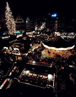 Christmas Market at night,Aerial View