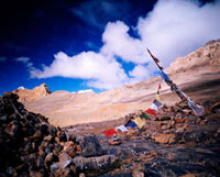 Prayer flags and mountains