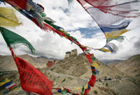 Royal castle at Leh with prayer flags