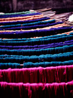 Blue,green,and pink yarn for weaving,Close Up