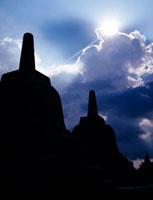 Stupas silhouetted at Borobudur Temple
