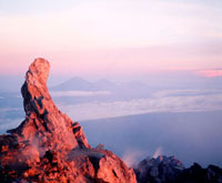 View from summit of Mount Merapi at dawn