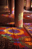 Stained glass reflections on carpet on Nasir al Malik Mosque