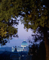 St Peter's Basilica at dusk from Villa Borghese park