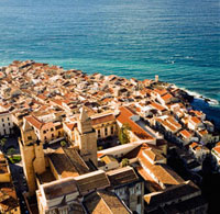 View over cathedral and town of Cefalu from La Rocca