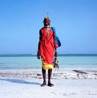 Smiling Samburu tribesman on Diani Beach