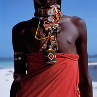 Maasai in traditional dress on beach,Close Up