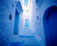 Whitewashed walls and blue doors in the medina,Cechaouen