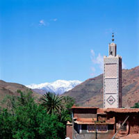 Mosque and Atlas mountains