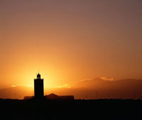 Mosque at sunset,near the old ramparts