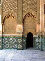 Detail of interior courtyard of Ben Youssef Medersa
