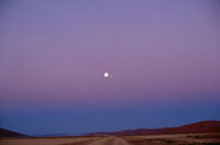 Namib Desert at night with moon