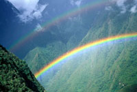 Rainbow over valley along the Inca Trail