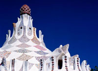 Roof of Gaudi designed entrance building of Parc Guell