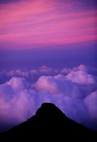 The view from the top of Adams peak at sunset