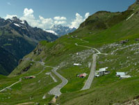 Winding road in mountains at Klausen Pass