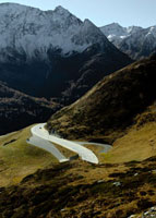 Winding road in mountains at Gotthard Pass