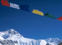 Prayer flags on hill above Base Camp�Clooking towards Mt. E