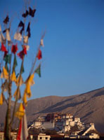 Prayer flags in front of the Potala Palace at dawn