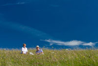 Couple sitting having picnic in meadow