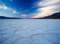 Looking across the saltpans at Badwater at dusk