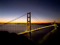 Looking across the Golden Gate Bridge at dawn with San Franc