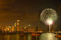 Fireworks against Chicago skyline at night