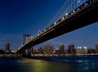 Looking along Manhattan Bridge at dusk over the East River t