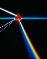 Red Prism Refracting Light