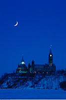 Winter Twilight Parliament Buildings Ottawa